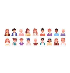 set children avatars bundle smiling faces vector image