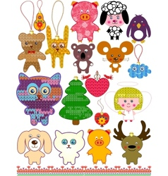 Set of christmas knitted toys vector