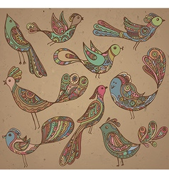 Set of cute ornamental hand drawn birds vector image