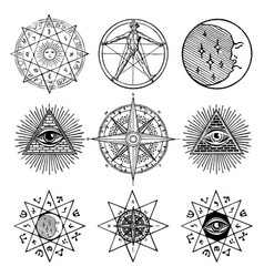 Set of icons on theme of magic esoteric masons vector