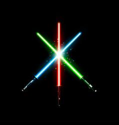 Set realistic light swords crossed sabers vector