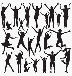 silhouettes celebrating success vector image