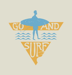 surfer man with surfboard vintage label stamp vector image