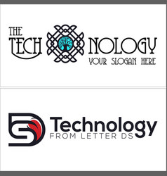 Technology logo with ornament tree and letter ds vector