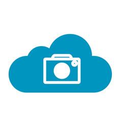 Thin line cloud camera icon vector