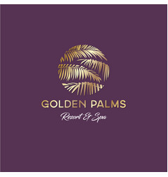 Tropical golden palms logo resort and spa vector