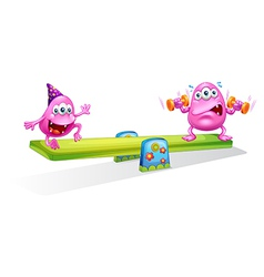 Two pink monsters playing with the seesaw vector