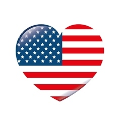 usa symbol flag heart isolated design vector image