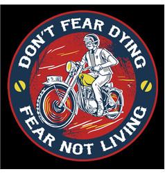 Vintage man riding motorcycle emblem vector