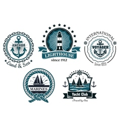 Vintage marine in blue and white emblems vector