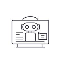 virtual assistant line icon concept virtual vector image