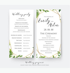 Wedding ceremony and party program card design vector
