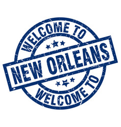Welcome to new orleans blue stamp vector