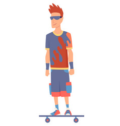 young handsome man riding an skateboard modern vector image