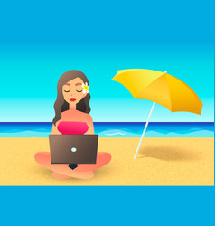 Young woman using laptop computer on a beach vector