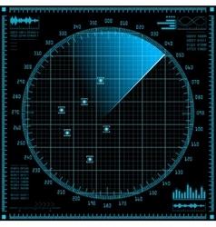 Blue radar screen HUD interface vector image vector image