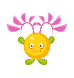 Cute fantastic yellow plant character round shape vector