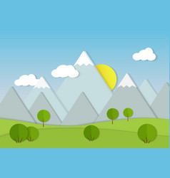 mountains cardboard paper landscape green trees vector image