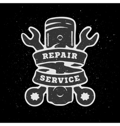 Piston and spanners hand drawn auto emblem vector image