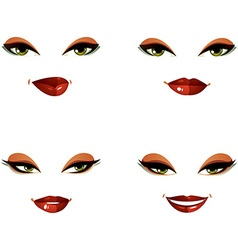 Set of beautiful female visage with stylish makeup vector image