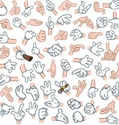 Cartoon Hands Pack 2 vector image