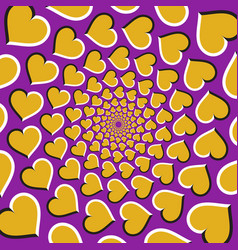 optical background golden hearts are moving vector image vector image