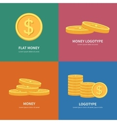 Set flat pile of coins logos with colorful vector image