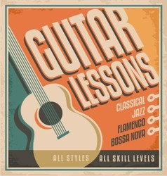 Vintage poster design for guitar lessons vector image vector image