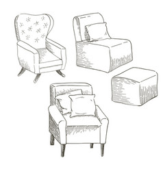 a set of different types of the chairs vector image