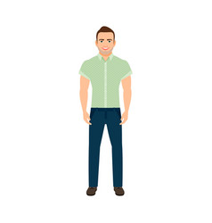 adult guy in blue shirt vector image vector image