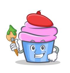 artist cupcake character cartoon style vector image vector image