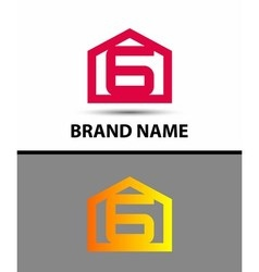 Number 6 logo logotype design with house vector image vector image