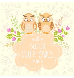 Owls cute vector image