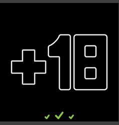 plus eighteen 18 it is white icon vector image