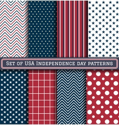 Set of USA Independence day patterns vector image vector image