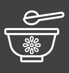 Baby bowl line icon baby food and nutrition vector