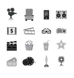cartoon cinema silhouette black icons set vector image vector image