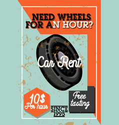 color vintage car rent banner vector image vector image