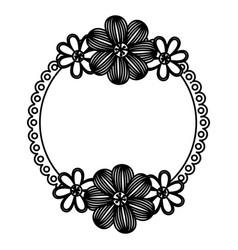 dark contour flowers emblem icon vector image