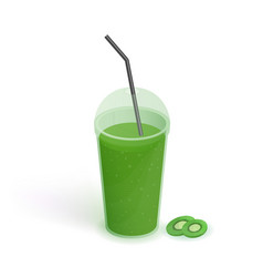 drink in transparent plastic cup with lid and vector image