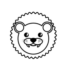 face lion animal outline vector image