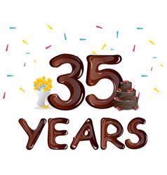 happy birthday thirty five 35 year vector image