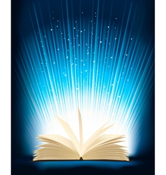 opened magic book with magic light vector image