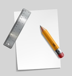 Pencil metal ruler and a piece of paper vector image