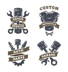 Set of auto logos garage service spare parts vector image vector image