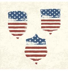 shield shaped american flag set vector image vector image