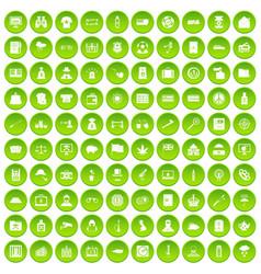 100 police icons set green circle vector