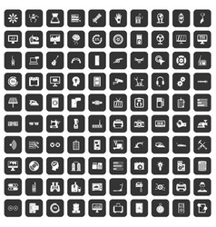 100 settings icons set black vector image