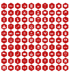 100 tourist attractions icons hexagon red vector