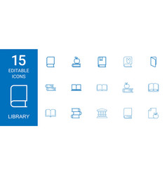15 library icons vector image